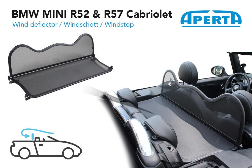 BMW MINI R52 /& R57 CABRIOLET WINDSCHOTT TASCHEGRAU2004-2015WINDSCHUTZ