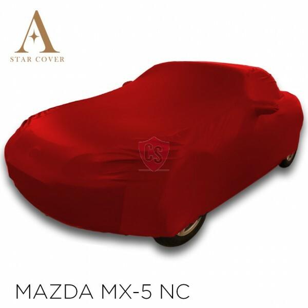 Mazda MX-5 NC Indoor Autoabdeckung - Spiegeltaschen- Rot