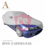 BMW 3'er Cabrio E46 Indoor Autoabdeckung - Spiegeltaschen - Silber