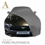 Ford Mustang 6 Cabrio Indoor Autoabdeckung - Spiegeltaschen - Grau