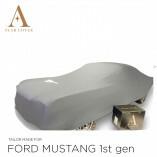 Ford Mustang I 1964-1967 Indoor Autoabdeckung Silbergrau mit Emblem